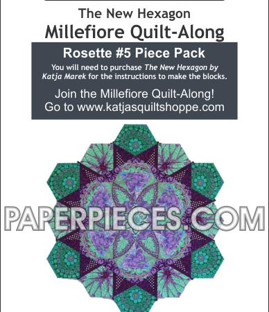 Millefiore Quilt-Along. Rosette 5. Paper piece pack. Katja Marek